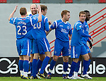 Hamilton Accies v St Johnstone..23.10.10  .Sam Parkin celebrates his goal with Andy Jackson and Murray Davidson.Picture by Graeme Hart..Copyright Perthshire Picture Agency.Tel: 01738 623350  Mobile: 07990 594431