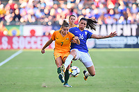 Carson, CA - Thursday August 03, 2017: Steph Catley, Bia Zaneratto during a 2017 Tournament of Nations match between the women's national teams of Australia (AUS) and Brazil (BRA) at the StubHub Center.