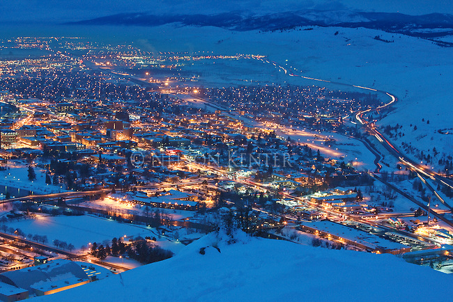 View of the city lights on a winter evening from Mount Sentinel above Missoula, Montana