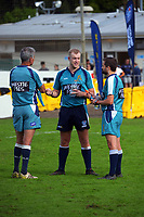 Match officials for the Auckland premier club rugby match between Ponsonby and Suburbs at Western Springs in Auckland, New Zealand on Saturday, 19 June 2021. Photo: Dave Lintott / lintottphoto.co.nz
