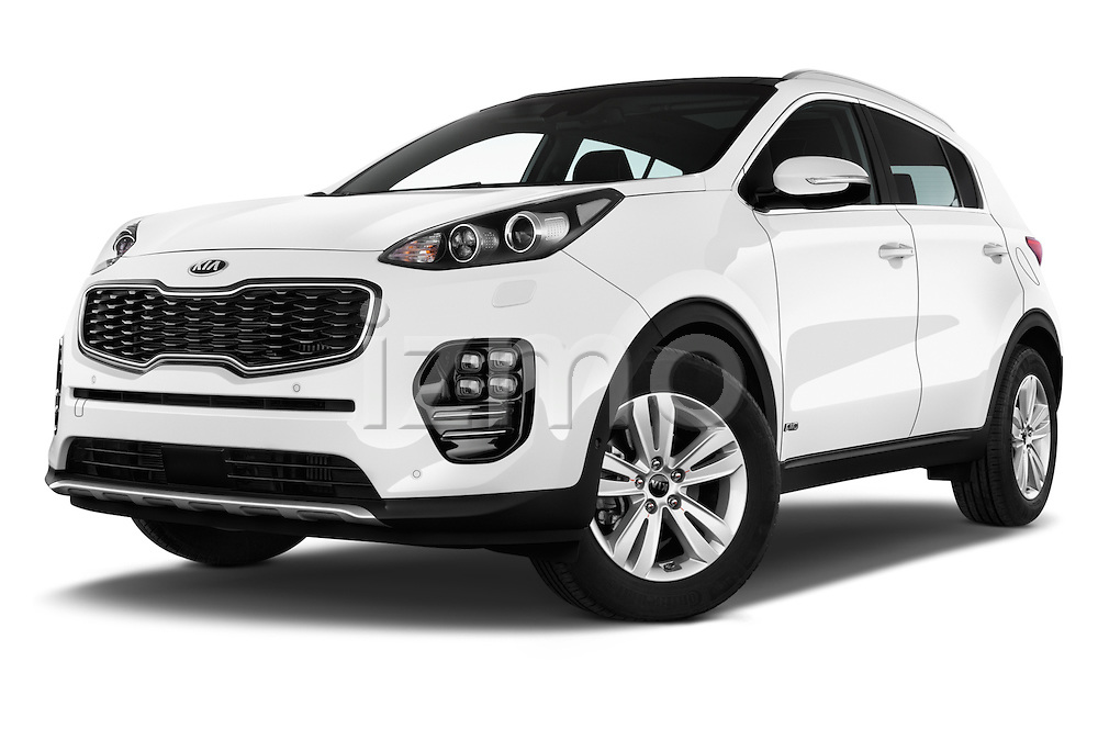 Stock pictures of low aggressive front three quarter view of 2016 KIA Sportage GT-Line 5 Door Suv Low Aggressive