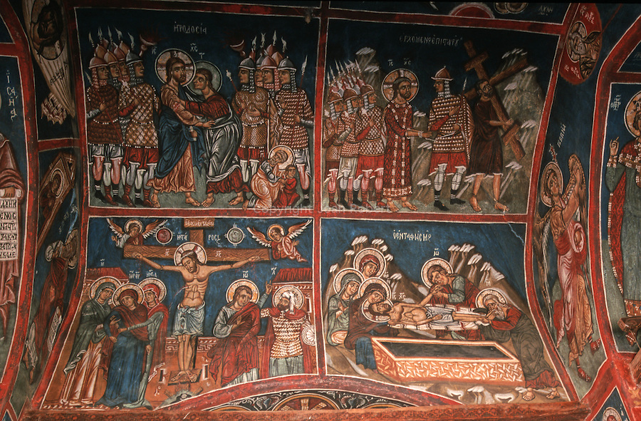 Unesco protected frescoed monasteries of the Troodos mountains. Panagia Forviotissa (Asinou) church. This church boasts the finest set of byzantine frescoes in the Troodos.