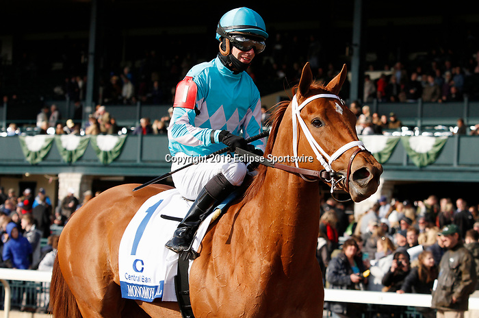 LEXINGTON, KY - April 07, 2018. #1 Monomoy Girl and jockey Florent Geroux after winning the 81st running of The Central Bank Ashland Grade 1 $500,000 for owner Michael Dubb, Monomoy Stables, The Elkstone Group and Bethlehem Stables and trainer Brad Cox at Keeneland Race Course.  Lexington, Kentucky. (Photo by Candice Chavez/Eclipse Sportswire/Getty Images)