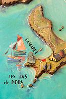 France, Bretagne, (29), Finistère, Brest: Carte de la Bretagne dans le hall Art-Déco de l'Hôtel: Le Continental