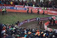 Mathieu Van Der Poel (NED/Corendon Circus) and Michael Vanthourenhout (BEL/Marlux Bingoal) chasing.<br /> <br /> Men Elite Race<br /> UCI CX Worlds 2018<br /> Valkenburg - The Netherlands
