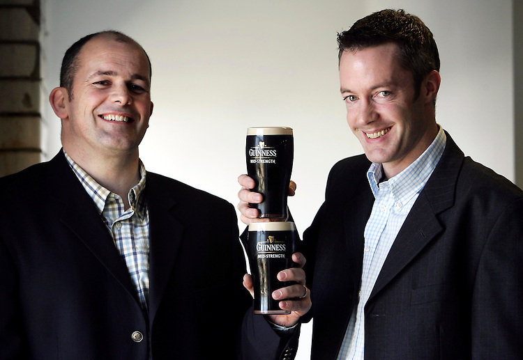 Paul Norris, Marketing Manager, Diageo Ireland (left) and David Madigan, Guinness Brewer pictured here in Guinness Dublin with the newly announced Guinness Mid-Strength stout. Pic. Robbie Reynolds.