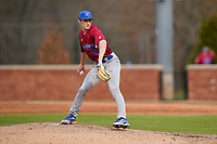 Pitcher Will Farrar (43) of the Presbyterian College Blue Hose in a game against the University of South Carolina Upstate Spartans on Tuesday, March 23, 2021, at Cleveland S. Harley Park in Spartanburg, South Carolina. (Tom Priddy/Four Seam Images)