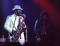 Bruce Springsteen, Clarence Clemons & the E Street Band perform at the Roxie, October 1975, Los Angeles. Photo by John G. Zimmerman.