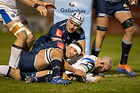 12th February 2021; AJ Bell Stadium, Salford, Lancashire, England; English Premiership Rugby, Sale Sharks versus Bath; Tom Dunn of Bath Rugby scores a try