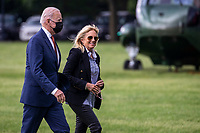 US President Joe Biden, with First Lady Dr. Jill Biden, steps off Marine One on the Ellipse as he returns to the White House in Washington, DC, USA, 04 June 2021. Earlier in the day President Biden delivered remarks on the May jobs report in Rehoboth Beach, Delaware.<br /> CAP/MPI/RS<br /> ©RS/MPI/Capital Pictures