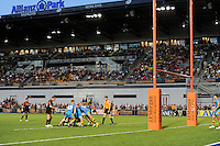 20130803 Copyright onEdition 2013 ©<br /> Free for editorial use image, please credit: onEdition.<br /> <br /> General view of a scrum between Saracens 7s and London Wasps 7s during the J.P. Morgan Asset Management Premiership Rugby 7s Series.<br /> <br /> The J.P. Morgan Asset Management Premiership Rugby 7s Series kicks off for the fourth season on Thursday 1st August with Pool A at Kingsholm, Gloucester with Pool B being played at Franklin's Gardens, Northampton on Friday 2nd August, Pool C at Allianz Park, Saracens home ground, on Saturday 3rd August and the Final being played at The Recreation Ground, Bath on Friday 9th August. The innovative tournament, which involves all 12 Premiership Rugby clubs, offers a fantastic platform for some of the country's finest young athletes to be exposed to the excitement, pressures and skills required to compete at an elite level.<br /> <br /> The 12 Premiership Rugby clubs are divided into three groups for the tournament, with the winner and runner up of each regional event going through to the Final. There are six games each evening, with each match consisting of two 7 minute halves with a 2 minute break at half time.<br /> <br /> For additional images please go to: http://www.w-w-i.com/jp_morgan_premiership_sevens/<br /> <br /> For press contacts contact: Beth Begg at brandRapport on D: +44 (0)20 7932 5813 M: +44 (0)7900 88231 E: BBegg@brand-rapport.com<br /> <br /> If you require a higher resolution image or you have any other onEdition photographic enquiries, please contact onEdition on 0845 900 2 900 or email info@onEdition.com<br /> This image is copyright the onEdition 2013©.<br /> <br /> This image has been supplied by onEdition and must be credited onEdition. The author is asserting his full Moral rights in relation to the publication of this image. Rights for onward transmission of any image or file is not granted or implied. Changing or deleting Copyright information is illegal as specified in the Copyright, Desig
