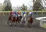April 18, 2014: Horses coming around the final turn in the 4th race at Keeneland Racecourse.  Candice Chavez/ESW/CSM