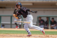 Visalia Rawhide Raymel Flores (1) hustles down the first base line against the Rancho Cucamonga Quakes at LoanMart Field on May 13, 2018 in Rancho Cucamonga, California. The Quakes defeated the Rawhide 3-2.  (Donn Parris/Four Seam Images)