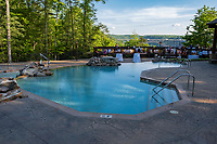 West Virginia. Swimming Pool, Adventures on the Gorge Lodge, New River Gorge Bridge in Background.