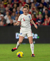 ORLANDO, FL - MARCH 05: Keira Walsh #4 of England dribbles during a game between England and USWNT at Exploria Stadium on March 05, 2020 in Orlando, Florida.