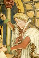 Italien, Umbrien, Fresken im Museum Trinci in Foligno, Raum der liberalen Künste, gotischer Stil von 1412, Darstellung der Musik