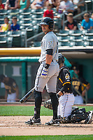 Brett Eibner (6) of the Omaha Storm Chasers at bat against the Salt Lake Bees in Pacific Coast League action at Smith's Ballpark on August 16, 2015 in Salt Lake City, Utah.Omaha defeated Salt Lake 11-4.  (Stephen Smith/Four Seam Images)