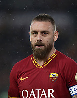Football, Serie A: AS Roma - Parma, Olympic stadium, Rome, May 26, 2019. <br /> Roma's captain Daniele De Rossi greets looks on prior to the Italian Serie A football match between Roma and Parma at Olympic stadium in Rome, on May 26, 2019.<br /> UPDATE IMAGES PRESS/Isabella Bonotto