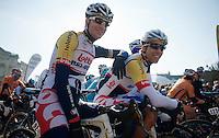 111th Paris-Roubaix 2013..Jürgen Roelandts (BEL) &  Jens Debusschere (BEL) at the start.