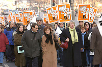 December 11,  2002, Montreal, Quebec, Canada; <br /> <br /> Members of the CSN march for salarial  equality between women and men, December 11, 2002,<br />  on Rene Levesque  street in Montreal, Canada<br /> <br /> (Mandatory Credit: Photo by Sevy - Images Distribution (©) Copyright 2002 by Sevy<br /> <br /> NOTE :  D-1 H original JPEG, saved as Adobe 1998 RGB.<br /> t.