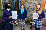"""Joanna Moynihan and Fiona Brosnan with their teacher Ms Leen, who are after receiving fa letter from the Minister of Education Norma Foley TD and its following the """"Safer Internet Day"""" and they are members of the Webwise Youth Advisory Panel. L to r: Joanna Moynihan, Ms Annmarie Leen (Teacher) and Fiona Brosnan"""