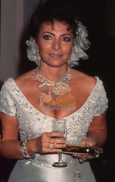 PATRIZIA REGGIANI GUCCI<br /> FESTA DI COMPLEANNO DI ALESSANDRA GUCCI - VILLA BORROMEO A CASSANO D'ADDA 1994