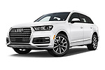 Stock pictures of low aggressive front three quarter view of 2017 Audi Q7 Premium  5 Door SUV
