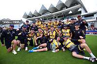 The Firebirds celebrate winning the Dream11 Super Smash T20 men's cricket final between Wellington Firebirds and Canterbury Kings at the Basin Reserve in Wellington, New Zealand on Saturday, 13 February 2021. Photo: Dave Lintott / lintottphoto.co.nz