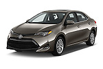 2018 Toyota Corolla LE-Eco-AT 4 Door Sedan Angular Front stock photos of front three quarter view