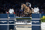 Patrice Delaveau of France riding Aquila HDC competes in the Longines Grand Prix during the Longines Masters of Hong Kong at AsiaWorld-Expo on 11 February 2018, in Hong Kong, Hong Kong. Photo by Diego Gonzalez / Power Sport Images