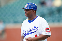 Chattanooga Lookouts manager Razor Shines (44) coaches third base during the Southern League game against the Montgomery Biscuits at AT&T Field on July 23, 2014 in Chattanooga, Tennessee.  The Lookouts defeated the Biscuits 6-5. (Brian Westerholt/Four Seam Images)