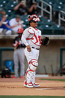 Birmingham Barons catcher Yermin Mercedes (6) during a Southern League game against the Chattanooga Lookouts on May 1, 2019 at Regions Field in Birmingham, Alabama.  Chattanooga defeated Birmingham 5-0.  (Mike Janes/Four Seam Images)