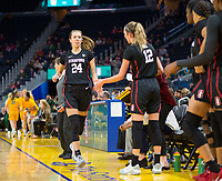 SAN FRANCISCO, CA - NOVEMBER 09: San Francisco, CA - November 9, 2019: Lacie Hull, Lexie Hull at the Chase Center. The Stanford Cardinal defeated the USF Dons 97-71. during a game between University of San Francisco and Stanford Basketball W at Chase Center on November 09, 2019 in San Francisco, California.
