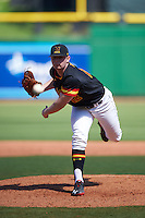 Maryland Terrapins relief pitcher Andrew Miller (12) delivers a pitch during a game against the Alabama State Hornets on February 19, 2017 at Spectrum Field in Clearwater, Florida.  Maryland defeated Alabama State 9-7.  (Mike Janes/Four Seam Images)
