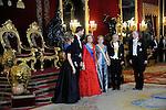 070311.Mc.POOL.07-03-2011 Gala Princess Letizia and Prince Felipe and King Juan Carlos and Queen Sofia with the President of Chili, Sebastian Pinera and his wife Cecilia Morel at the gala dinner at palacio real in Madrid. ..Photo: Pool Miguel Cordoba / ALFAQUI