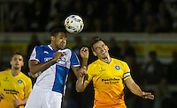 Cristian Montano of Bristol Rovers & Matt Bloomfield of Wycombe Wanderers go up for the ball during the Johnstone's Paint Trophy match between Bristol Rovers and Wycombe Wanderers at the Memorial Stadium, Bristol, England on 6 October 2015. Photo by Andy Rowland.