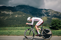 Damian Papierski (POL)<br /> <br /> MEN JUNIOR INDIVIDUAL TIME TRIAL<br /> Hall-Wattens to Innsbruck: 27.8 km<br /> <br /> UCI 2018 Road World Championships<br /> Innsbruck - Tirol / Austria