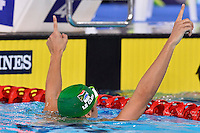 Chad le Clos of RSA reacts after winning 100 meter butterfly final during Commonwealth Games Swimming, Monday, July 28, 2014 in Glasgow, United Kingdom. (Mo Khursheed/TFV Media via AP Images)