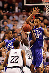 Connecticut forward Denham Brown (33) shoots against Kentucky forward Randolph Morris (33).  Connecticut defeated Kentucky 87-83 in the second round of the NCAA Tournament  at the Wachovia Center in Philadelphia, Pennsylvania on March 19, 2006.