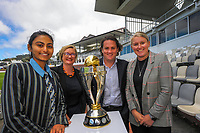 From left, Wellington Blaze and Student Lead of the Cricket Wellington Youth Leaders Programme Dhriti Girish, ICC Women's Cricket World Cup chief executive Andrea Nelson, Cricket Wellington chief executive Cam Mitchell and Cricket Wellington general manager and former White Fern Liz Green. 2022 Women's Cricket World Cup tournament venues presser at the Basin Reserve in Wellington, New Zealand on Tuesday, 17 November 2020. Organisers for the 2022 Women's Cricket World Cup are welcoming a $2 million funding boost that will go towards upgrading player facilities at the five New Zealand venues for the tournament. Photo: Dave Lintott / lintottphoto.co.nz