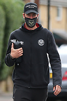 Brentford captain, Pontus Jansson, arrives at the ground ahead of kick-off wearing a mask during Brentford vs Preston North End, Sky Bet EFL Championship Football at Griffin Park on 15th July 2020