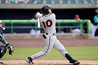 Catcher Logan Michaels (10) of the Delmarva Shorebirds in a game against the Lynchburg Hillcats on Wednesday, August 11, 2021, at Bank of the James Stadium in Lynchburg, Virginia. (Tom Priddy/Four Seam Images)