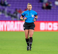 ORLANDO, FL - FEBRUARY 21: Referee Tori Penso watches a play during a game between Canada and Argentina at Exploria Stadium on February 21, 2021 in Orlando, Florida.