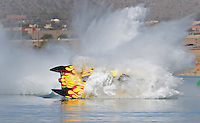Nov. 22, 2008; Chandler, AZ, USA; Top fuel hydro driver James Ray crashes during qualifying for the Napa Auto Parts World Finals at Firebird Lake. Ray was okay in the accident and was transported to a local hospital for further evaluation. Mandatory Credit: Mark J. Rebilas-