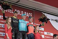 Podium:<br /> <br /> 1st place: Michael Valgren Andersen (DEN/Astana)<br /> 2nd place: Roman Kreuziger (CZE/Mitchelton Scott)<br /> 3th place: Enrico Gasparotto (ITA/Bahrain Merida)<br /> <br /> 53th Amstel Gold Race (1.UWT)<br /> 1 Day Race: Maastricht > Berg en Terblijt (263km)