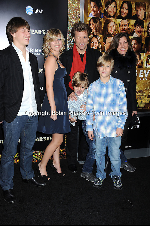 """Jon Bon Jovi and family attends The Special Screening of """" New Year's Eve"""" on ..December 7, 2011 at The Ziegfeld Theatre in New York City. The evening is sponsored by AT & T and is benefitting The Tribeca Film Institute ."""