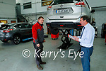 Padraig McCarthy with mechanic Kieran O'Carroll in the service area of Randles Nissan Tralee