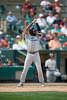 Columbus Clippers third baseman Ronny Rodriguez (65) bats during a game against the Rochester Red Wings on August 9, 2017 at Frontier Field in Rochester, New York.  Rochester defeated Columbus 12-3.  (Mike Janes/Four Seam Images)