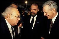 File photo (circa 1993) : Louis Laberge, Gerald Larose, Feb 1993 - Claude Beland, Caisse Populaire desjardins,