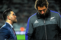 Skysport's Nehe Milner-Skudder talks to Sam Whitelock before the Steinlager Series All Blacks rugby match between the New Zealand All Blacks and Wales at Eden Park, Auckland, New Zealand on Saturday, 11 June 2016. Photo: Dave Lintott / lintottphoto.co.nz